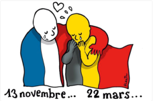 A political cartoon of the French flag hugging the Belgium flag with the date 13 November beneath the French flag the date 22 March underneath the Belgium flag.